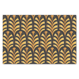 Art Deco Palms black and gold feather Tissue Paper