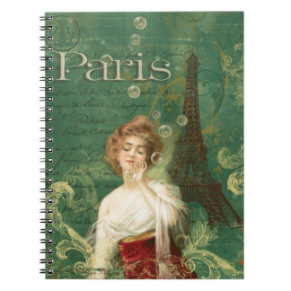 Art Deco Paris Woman with Bubbles Eiffel tower Notebook