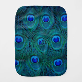 Art Deco  Parisian Teal Green Peacock Feather Burp Cloth