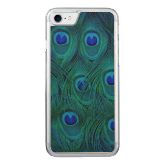 Art Deco  Parisian Teal Green Peacock Feather Carved iPhone 8/7 Case