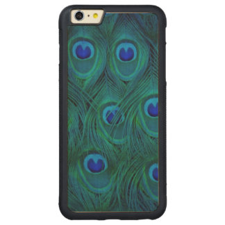 Art Deco  Parisian Teal Green Peacock Feather Carved Maple iPhone 6 Plus Bumper Case