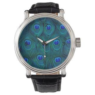 Art Deco  Parisian Teal Green Peacock Feather Watch