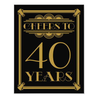 art deco party sign happy birthday cheers to 60 photographic print