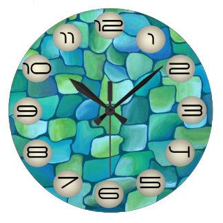 Art Deco Pattern - Aqua with Pearl Circles Large Clock