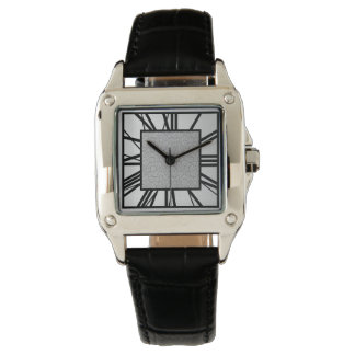 Art Deco Pattern, brushed silver and black Watch