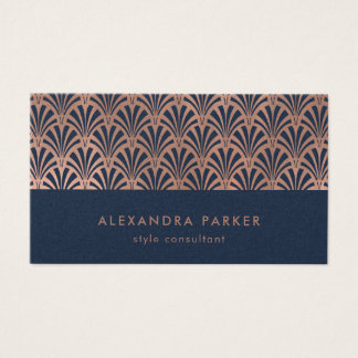 Art Deco Pattern | Faux Rose Gold on Midnight Blue Business Card