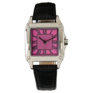 Art Deco Pattern, fuchsia pink Watch