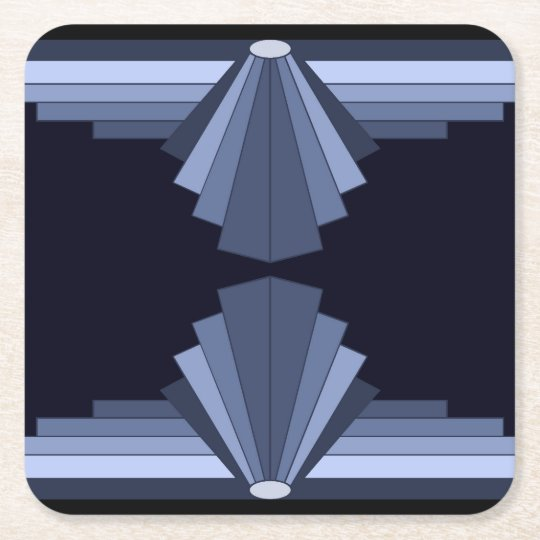 Art Deco Pattern in Grey-Blues Square Paper Coaster