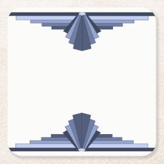 Art Deco Pattern in Grey-Blues Square Paper Coaster
