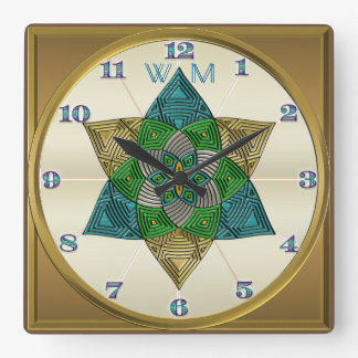 Art Deco Peacock Feather Inspired Mandala Monogram Square Wall Clock