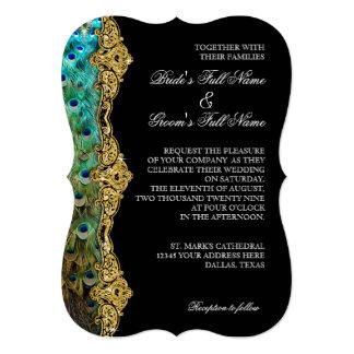 "Art Deco Peacock Gold Glitter Old Hollywood Gatsby 5"" X 7"" Invitation Card"