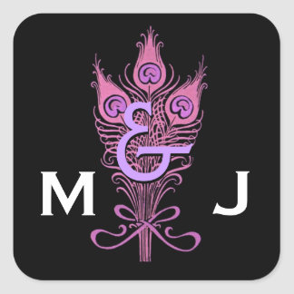 Art Deco Pink Peacock Feathers Monogram Wedding Stickers