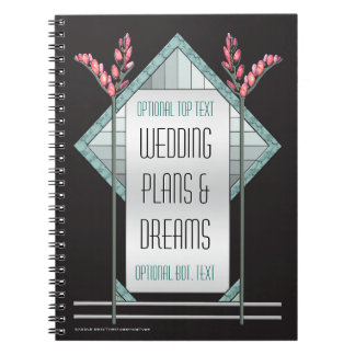 Art Deco Pink Pussy Willow and Aqua Glass on Black Notebook