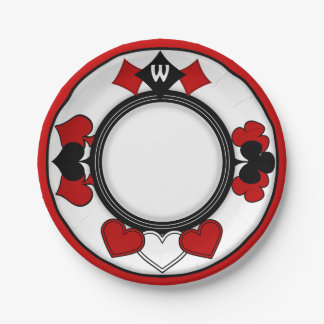 Art Deco Playing Card Suits - Monogrammed 7 Inch Paper Plate