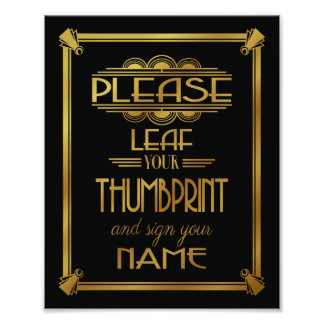 Art deco Please Leaf your thumbprint black Photographic Print