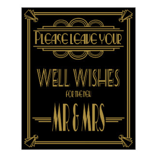 "Art Deco ""Please leave well wishes"" wedding print"