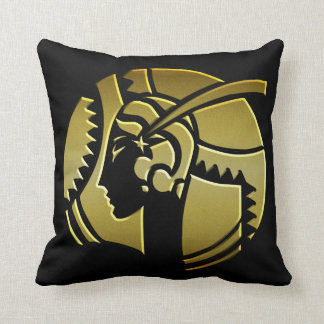 Art Deco Portrait of a Lady Black and Gold Throw Pillow