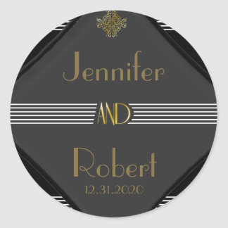 Art Deco Posh Wedding Classic Round Sticker