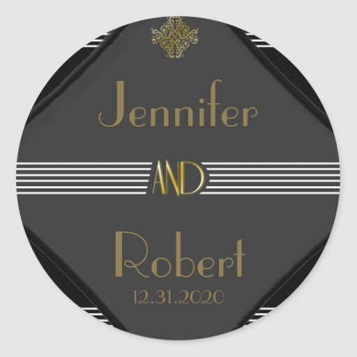 Art Deco Posh Wedding Sticker