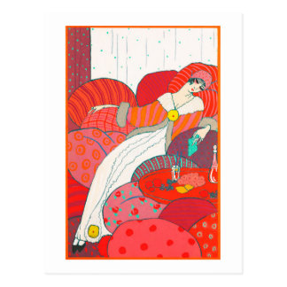 Art Deco postcard 4 Woman resting in bed
