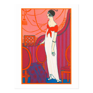 Art Deco postcard 7 in red color