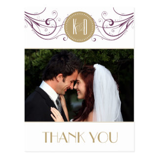 Art Deco purple and taupe Thank you card Postcard