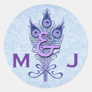 Art Deco Purple Peacock Feathers Monogram Wedding Classic Round Sticker