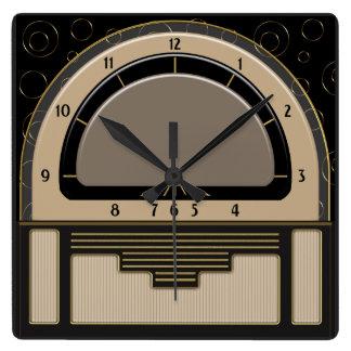 Art Deco Radiola (Latte, Greige, Black, Gold) Square Wall Clock