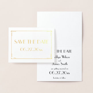 Art Deco Real Gold Foil Wedding Save The Date Card