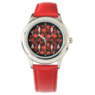 ART DECO RED FLOWERS,WHITE PARROTS ON BLACK WATCH