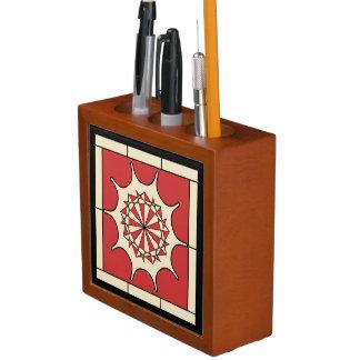 Art Deco Red Splash Desk Organizer