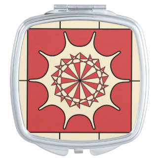 Art Deco Red Splash Mirrors For Makeup