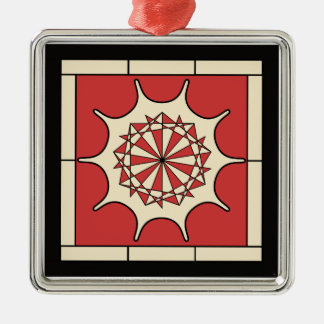 Art Deco Red Splash Silver-Colored Square Ornament