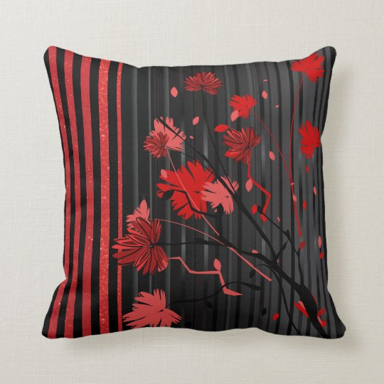 Art Deco Red Stripe Pattern Throw Pillow