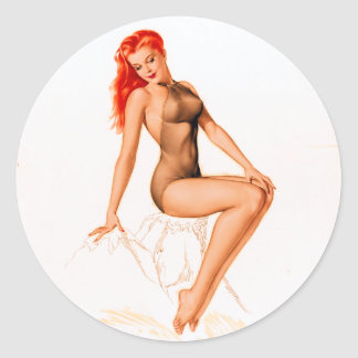 Art Deco Redhead Pin Up Classic Round Sticker