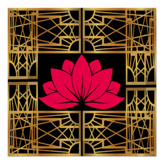 Art Deco Retro Lotus (save & black) Poster