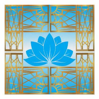 Art Deco Retro Lotus (sky blue) Poster