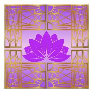 Art Deco Retro Lotus (violet) Poster