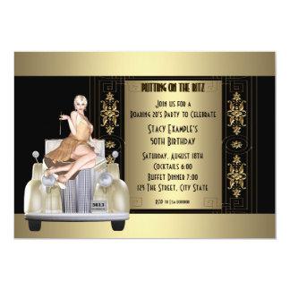 "Art Deco Roaring 20's Birthday Party 5"" X 7"" Invitation Card"