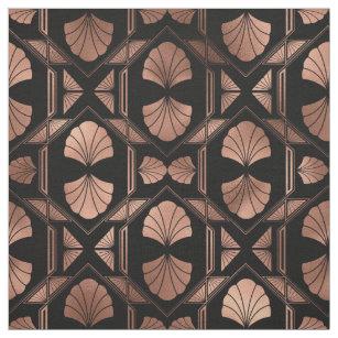 Art Deco Rose Gold Shells on Black Fabric