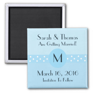 Art Deco Save The Date Magnet - Blue