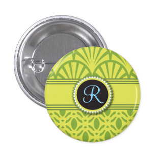 Art Deco Scalloped Pastel Lime Monogram 1 Inch Round Button