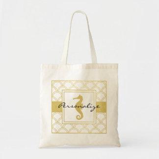Art Deco Seahorse Faux Gold Nautical Vintage Tote Bag