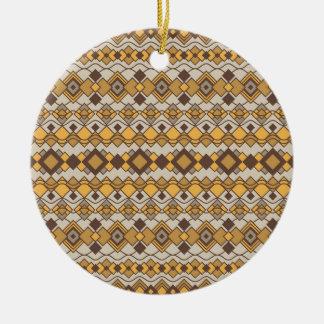 Art Deco Shapes Pattern 2 Round Ceramic Ornament