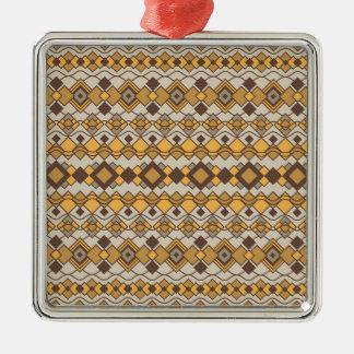 Art Deco Shapes Pattern 2 Silver-Colored Square Ornament