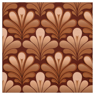 Art Deco Shell Pattern, Copper and Rust Brown Fabric