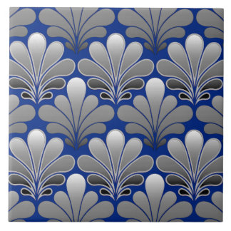 Art Deco Shell Pattern, Silver and Cobalt Blue Tile