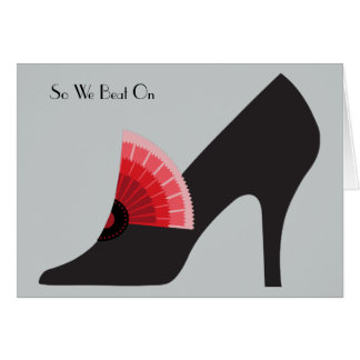Art Deco Shoe Card in Black with Red Fan Ornament