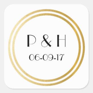 Art Deco Square Stickers Wedding Envelopes