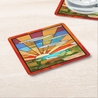 Art Deco Stained Glass 1 Square Paper Coaster